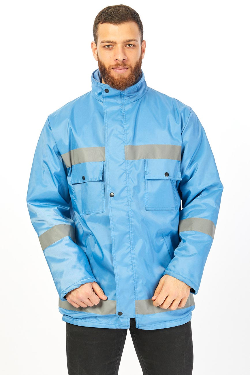 Reflector Color and Stripes Long Blue Work Coat