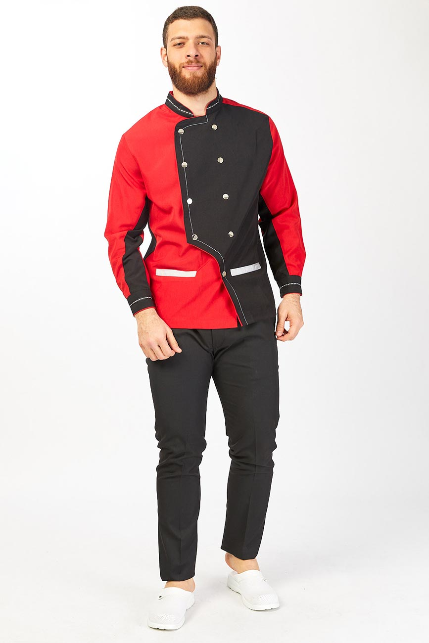 White Detailed Black and Red Chef Coat