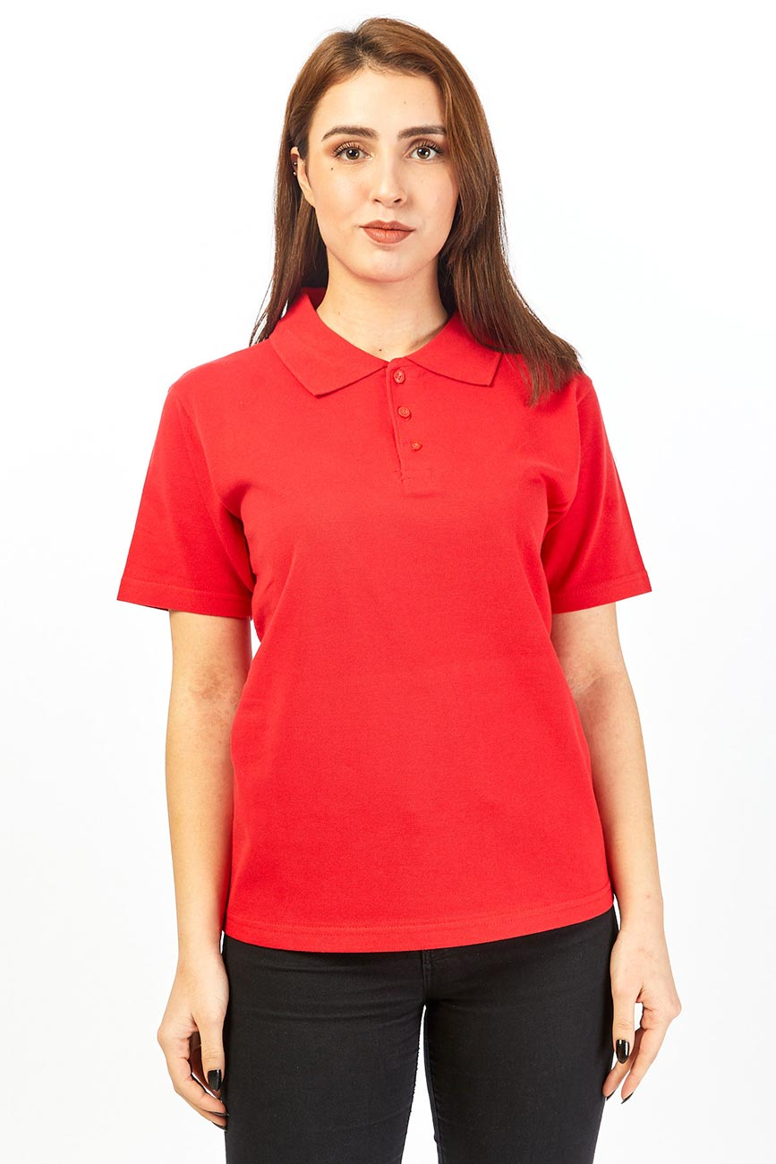 Polo Collar Short Sleeved Red Work T-Shirt