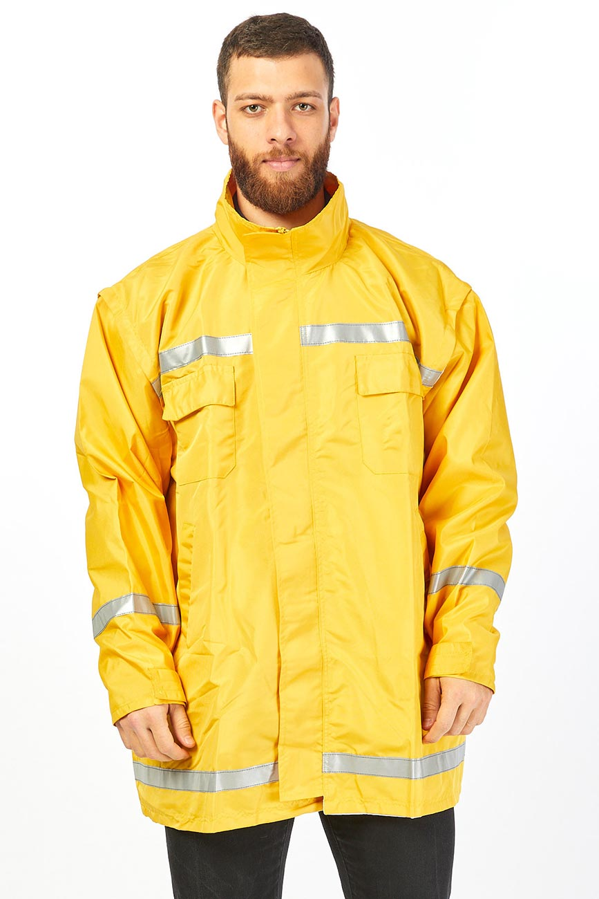 Yellow Secret Hooded Work Coat With Reflector Stripes-2