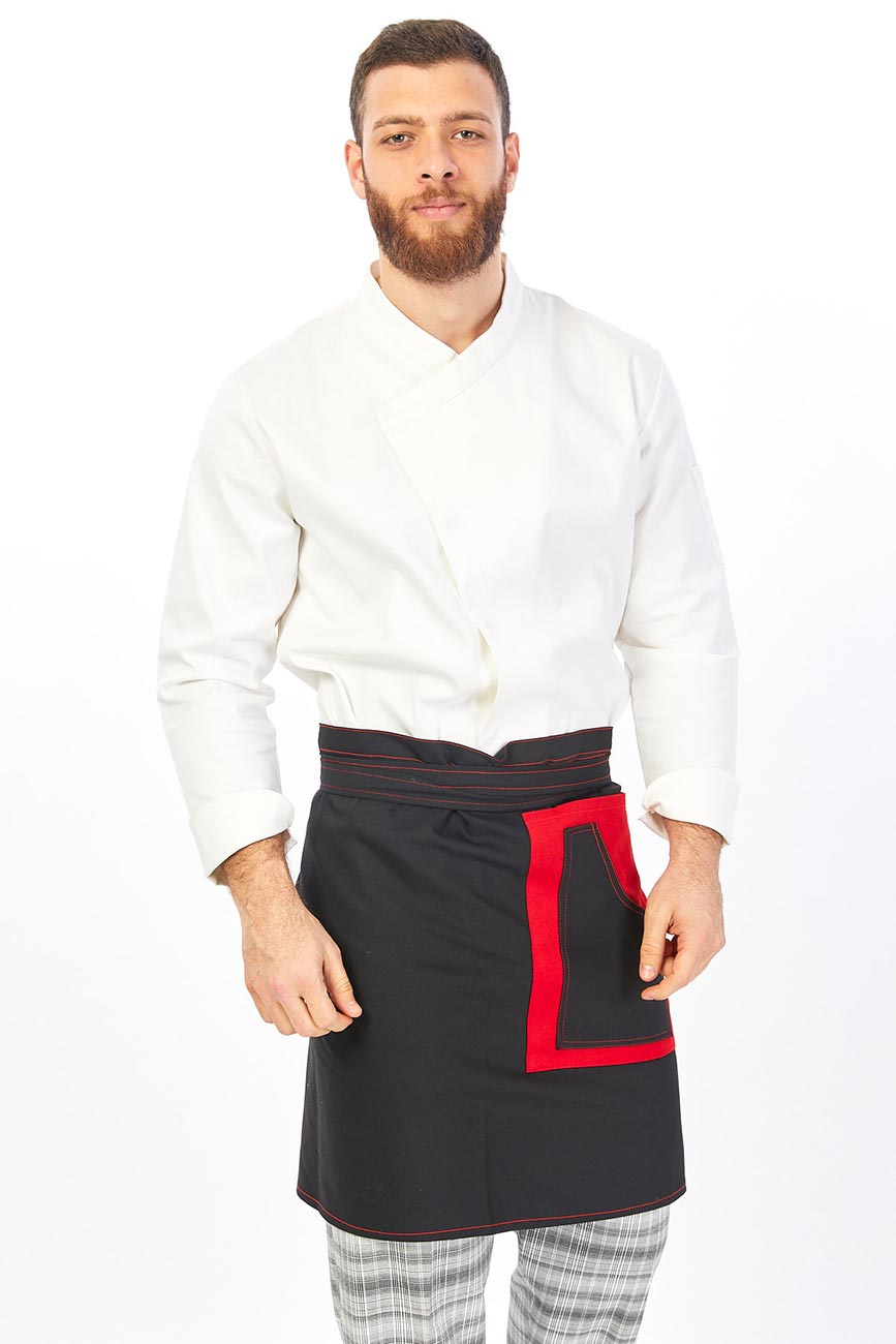 Two Pockets Red Detailed Waist Apron