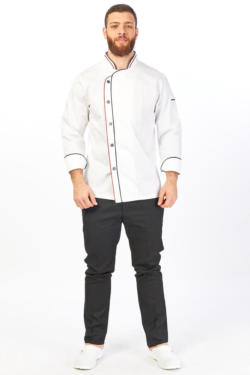 Red and Black Line Detailed White Chef Coat