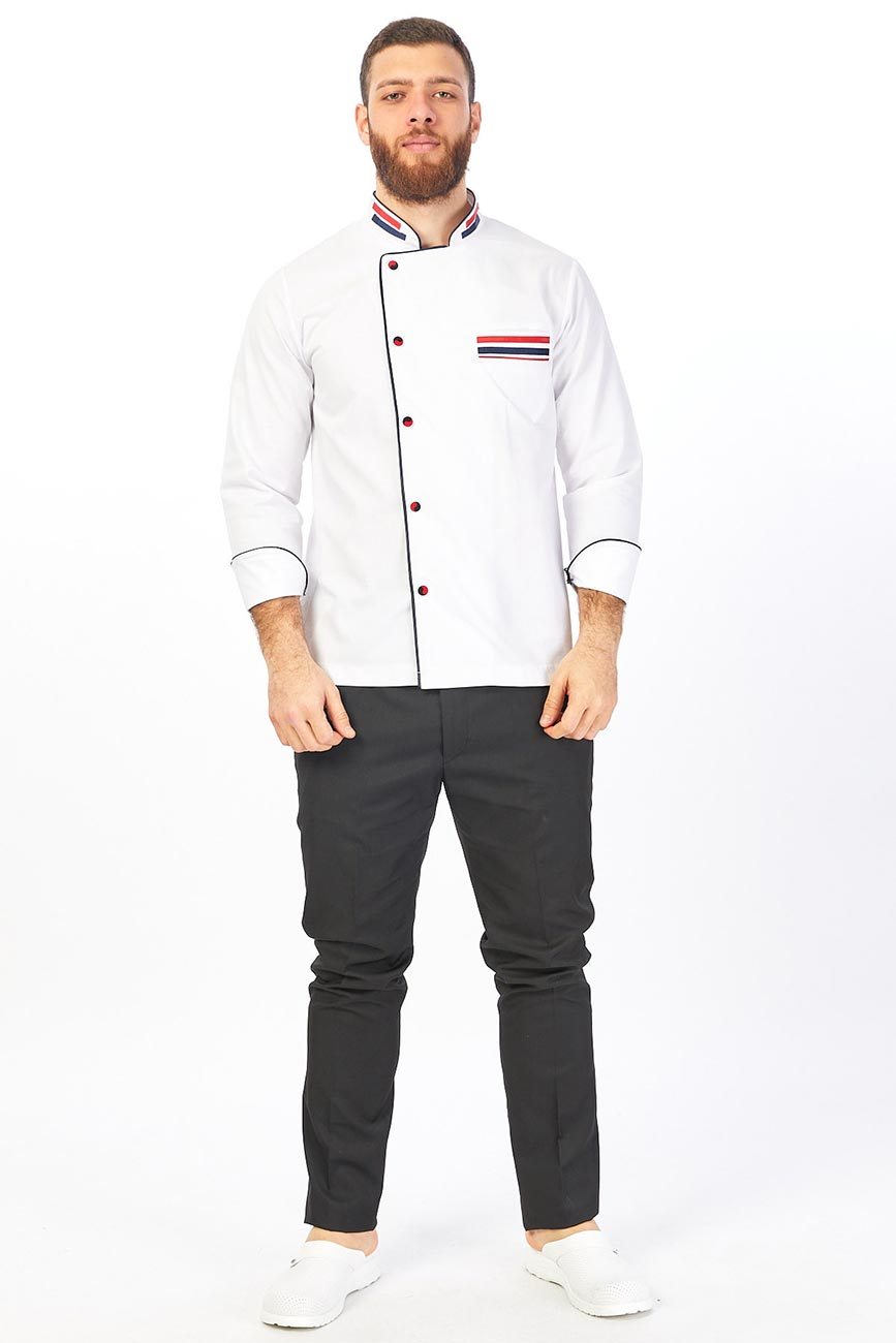 Red and Dark Blue Line Detailed White Chef Coat