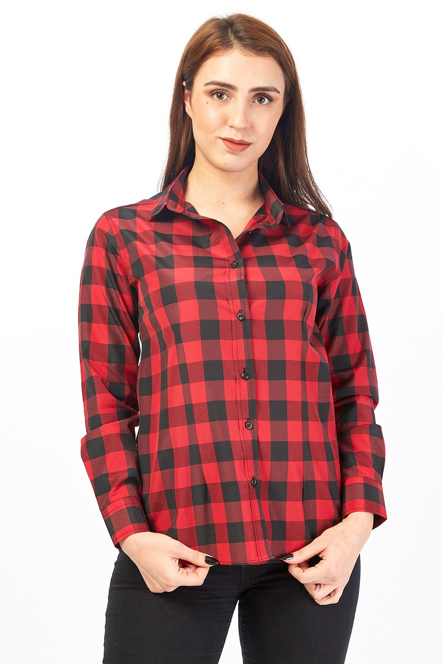 Red And Black Checked Women's Shirt