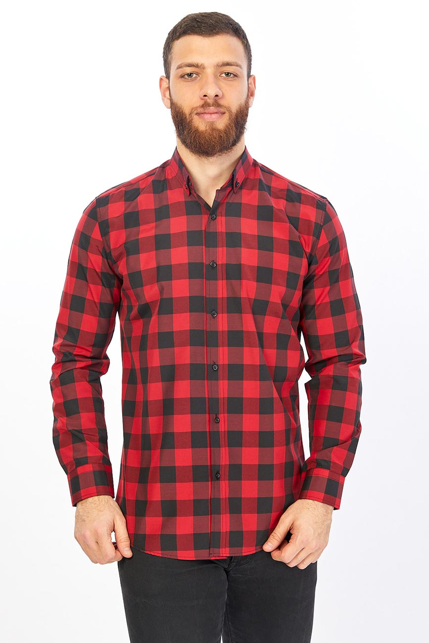 Red And Black Checked Men'sShirt