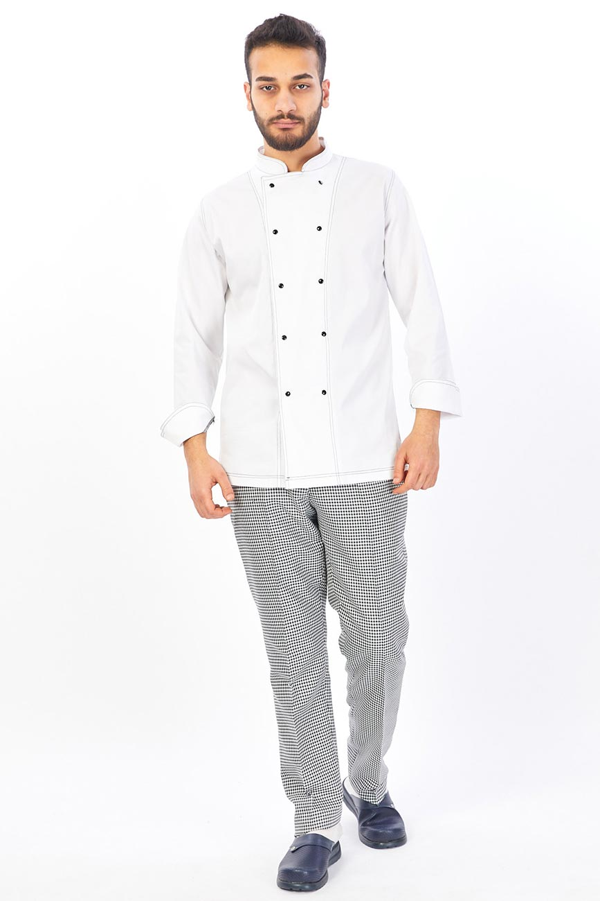 White With Black Buttons Chef Coat