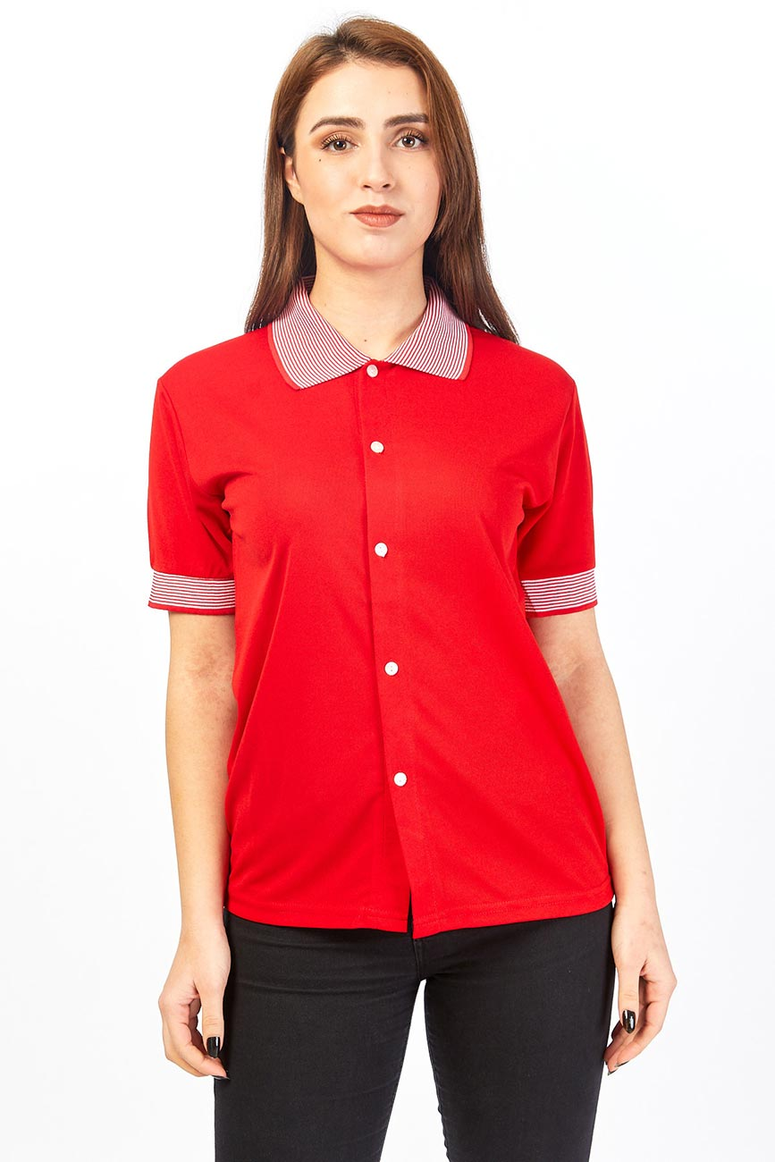 Polo Collar Short Sleeved Red Shirt