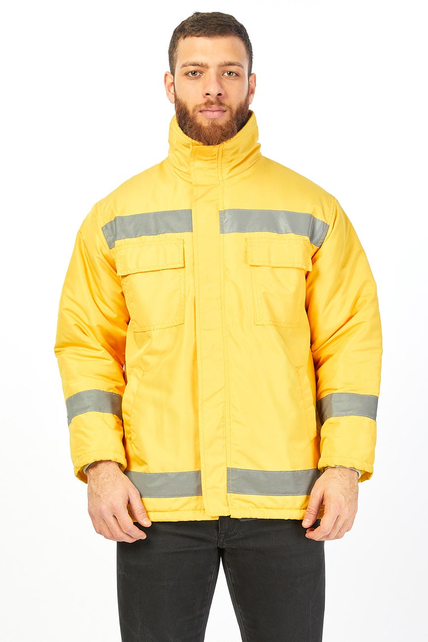 Yellow Secret Hooded Work Coat With Reflector Stripes